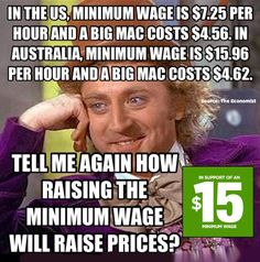 McDonalds makes billions in profit and pays their CEO tens of millions yearly. Yet Paying their employees a wage above the poverty level here in America is a problem but not in other countries where it's required by law.