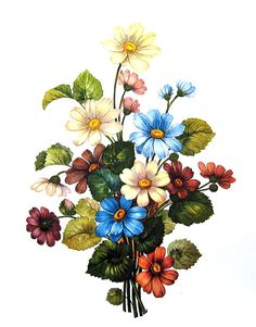 Bouquet of Flowers 1970's Wildflowers Print Botanical