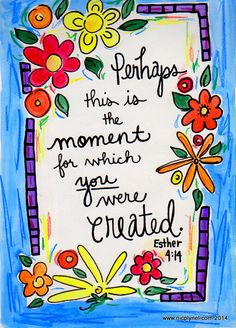 Bible Verse You Were Created for This Moment: Esther Illustrated WAtercolor Print