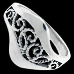 Silver ring, esses Silver ring, Ag 925/1000 - sterling silver. An attractive design of two waves filled with fine S shapes. Medium robust subtle design.