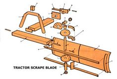 Build an inexpensive homemade tractor blade that includes a materials list, instructions, and diagrams. Compact Tractor Attachments, Garden Tractor Attachments, Atv Attachments, Small Tractors, Compact Tractors, Welded Metal Projects, Welding Projects, 8n Ford Tractor, Tractor Cabs