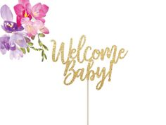 Welcome Baby Cake Topper, Baby Shower Cake Topper, Glitter Cake Topper, It's a Girl, It's a Boy, Gender Reveal Cake Topper