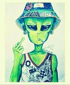 "My mood when speaking to some & in the eyes of some I would be considered an ""alein"" 👾🖕 Trippy Wallpaper, Graffiti Wallpaper, Cartoon Wallpaper, Graffiti Art, Arte Alien, Alien Art, Alien Aesthetic, Trippy Drawings, Alien Tattoo"