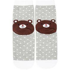 Forever21 Polka Dot Bear Crew Socks (3.89 CAD) ❤ liked on Polyvore featuring intimates, hosiery, socks, bear socks, polka dot socks, crew cut socks, dot socks and crew socks