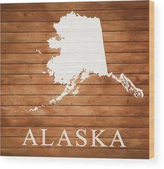 Rustic, Prints For Sale, Wood, Flags, Alaska, Map, Wall Art, Artwork, Home Decor