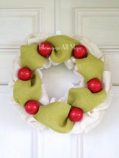 15 inch Chunky White Cream Burlap Wreath Green by BlessingsAllMine, $40.00