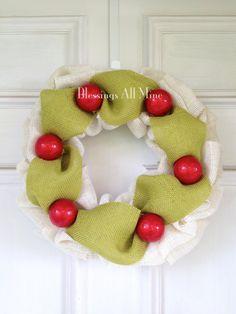 15 inch Chunky White Cream Burlap Wreath Green by BlessingsAllMine, $40.00