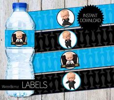 BOSS Baby Birthday Party PRINTABLE Water Bottle LABELS- Instant Download | DreamWorks | The Boss Baby Movie by APartyPrintable on Etsy