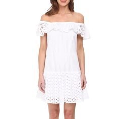 NWTRebecca Minkoff Off The Shoulder Dress NWT Rebecca Minkoff Celestine off the shoulder cotton eyelet dress in A-line cut with ruffle hem. Fully lined elasticized neckline can be worn off the shoulder or on. SOLD OUT! Rebecca Minkoff Dresses Strapless