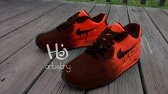 8b610c6fc1 Nike Air Max or Air Force with burnt toe nike drip or non drippin effect.  Custom Painted Nike Air Max or Nike Air Force 1 highs by HJartistry on Etsy