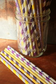 Tangled Party Straws, Purple & Yellow Paper Straws, Set of Lavender straws, Lemon Shower, Purple Tangled Wedding, Tangled Party, Tinkerbell Party, Lilac Wedding, Yellow Wedding, Dream Wedding, Spring Wedding, Wedding Things, Yellow Paper