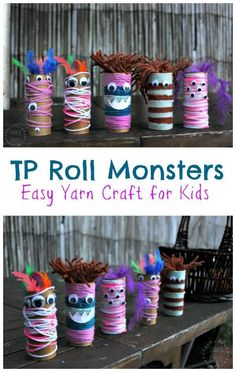 Easy, fun open-ended yarn and googly eye craft for p… Toilet Paper Roll Monsters! Easy, fun open-ended yarn and googly eye craft for preschool aged kids and up. Perfect for a monster theme (or Halloween). Easy Yarn Crafts, Yarn Crafts For Kids, Halloween Crafts For Toddlers, Halloween Activities, Toddler Crafts, Preschool Crafts, Fall Crafts, Activities For Kids, Diy Halloween