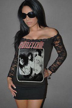 DIY Motley Crue Mini dress Top shirt Glam rock Metal Sixx Black Lace xs-xl