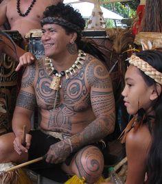 Marquesan with classic tattoos, Papeete, Tahiti #polynesian #tattoo