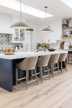 #interiordesign #kitchen #modernfarmhouse #openlayout #navyisland Blue Kitchen Cabinets, Kitchen Tile, Kitchen Decor, Beautiful Kitchen Designs, Beautiful Kitchens, Home Design, Interior Design Inspiration, Kitchen Interior, Home Kitchens