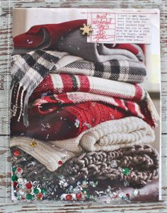December Daily - a picture of a stack of warm winter blankets Christmas Journal, Christmas Scrapbook, Christmas Minis, Christmas Albums, Prim Christmas, Father Christmas, Christmas Shirts, Christmas Crafts, December Daily 2014