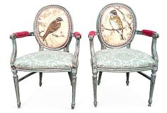 French Louis XVI Arm Chairs Rustic Cottage Chic by OrangeNolive