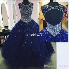 Modest Sparkly Dark Blue Prom Dress Quinceanera Dresses Masquerade 2018 Sheer Neck Open Back Bling Crystal Pageant Dresses For Sweet 16 - Dress Models Dark Blue Prom Dresses, Backless Prom Dresses, Tulle Prom Dress, Pageant Dresses, Formal Dresses, Sweet 16 Dresses Blue, Party Dress, Navy Blue Quinceanera Dresses, Prom Party