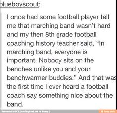 This kid in my bio class made fun of marching band the other day. There are like ten band kids (several were his friends) there. We glared at him and gave him the cold shoulder until he apologized and said Band rocks Football stinks. Band Nerd, Music Jokes, Music Humor, Satire, Marching Band Memes, Marching Band Problems, Funny Quotes, Funny Memes, Hilarious
