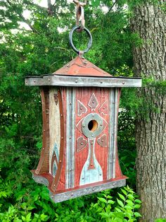 The Regina: Art Deco Birdhouse Made of Reclaimed Barn Wood and Metal Roofing--Made to Order