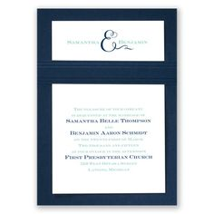 Your names are highlighted with a beautiful ampersand on this layered wedding invitation to let guests know that the two of you are joining your lives in style. The ampersand is printed in the same imprint color as your first line of wording. Choose up to two imprint colors and lettering styles for your wording. The bright white invitation card includes a navy blue backer card for a unique presentation. Invitation includes inner and outer envelopes. Assembly is required.
