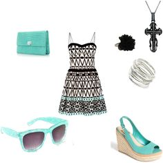 """""""ocean teal tribal dress"""",   created by little-gymnast on polyvore"""