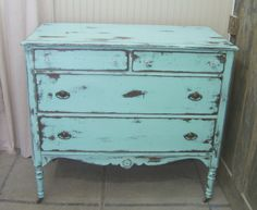 Shabby Aqua | Shabby aqua | Shabby Aqua 1930's Dresser / Chest Chic ... | Bedroom I ...