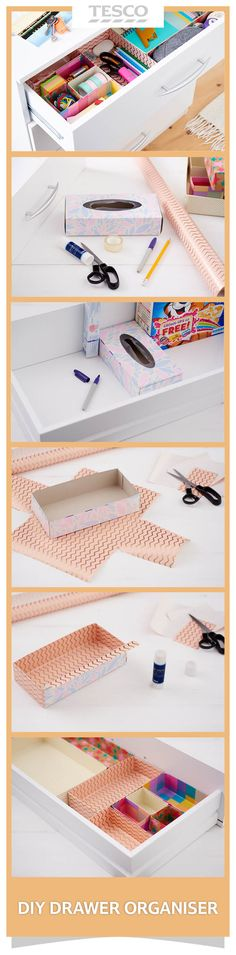 The secret to de-cluttered, organised drawers? Use cardboard dividers! Take cereal boxes and other cardboard packaging and turn them into neat dividers for tidy drawers and cupboards. | Tesco Living More