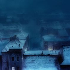 "Relja Penezic; Oil Painting ""Winter Night Melancholy"""