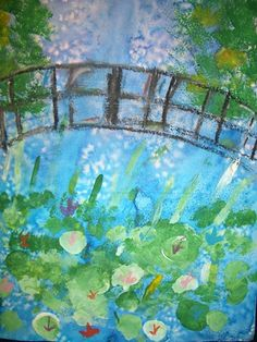 Monet Japanese Bridge. 3 day project. Water color wash w/ sea salt. 2) Sponge painting trees and lily pads. 3) oil pastel bridge and other details. Great!