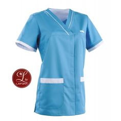Blouse medicale femme turquoise et blanche Alexandra - Lafont Lafont, Housecoat, Short Sleeve Dresses, Dresses With Sleeves, Medical Scrubs, Unif, Turquoise, Couture, Clothing