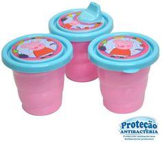 Conjunto Kit de potes Peppa Pig. Proteção Antibactéria. Confira mais em nosso site: www.plasticonacional.com.br