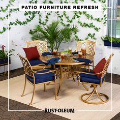 Refresh your back patio on a budget with these easy and fun DIY projects you can do when bored at home. Use Rust-Oleum Stops Rust Spray Paint and Universal Spray Paint to refresh faded patio furniture and decor and create your very own backyard oasis. #prideinthemaking