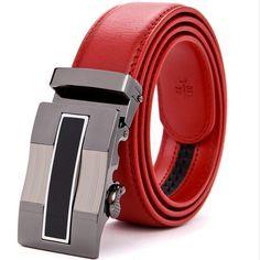 high grade cow genuine leather men red belts luxury good automatic buckle belt for men cinturones hombre