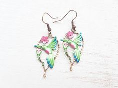 Humming bird earrings. Bird earrings humming bird jewellery