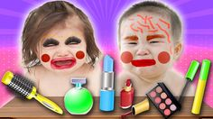 Bad Baby Crying and Learn Colors - Lipsticks and Makeup Fail Finger Fami...