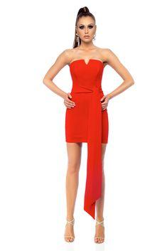 Occasional Ana Radu red short dress accessorized with tied waistband, accessorized with tied waistband, back zipper fastening, tented cut, nonelastic fabric