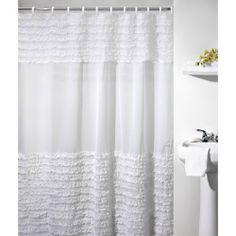 Guest Bathroom-Ruffle Shower Curtain-Can you believe it...Walmart!