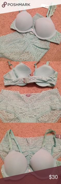 AERIE Bra 34B and Lace Panty M Set Lingerie NEW!!! Brand new AERIE Katie Bra Size 34B new with tags + Brand new AERIE Vintage Lace Boybrief Size Medium new without tags.  Super nice & romantic especially with the lace details.  I would keep these but i have way too many bras and am trying to cut back on my addiction 😁😁😁 make me an offer!! It would be expensive to buy these separately... aerie Intimates & Sleepwear