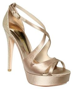 GUESS by Marciano Shoes, Karisma Platform Evening Sandals - Evening & Bridal - Shoes - Macy's Guess By Marciano, How To Feel Beautiful, Beautiful Shoes, Guess Shoes, Me Too Shoes, Shoes Names, Shoe Boots, Shoes Sandals, Gold Outfit