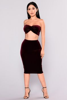 Annora Velvet Set - Dark Burgundy