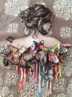 Kelebekli rölyef çalışmam Mixed Media Canvas, Mixed Media Art, Old Dress, Decoupage Art, Fantasy Paintings, Fabric Painting, Female Art, Collage Art, Arts And Crafts