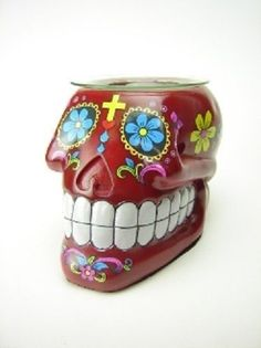 Red Sugar Skull Burner Wax Tart Oil Candle Warmer Electric Polyresin #Unbranded