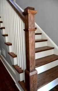 Craftsman Staircase, Wood Staircase, Staircase Remodel, Stair Railing, Staircase Design, Staircase Ideas, White Staircase, Stained Staircase, Craftsman Trim