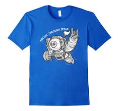 Men's Astronaut Rockin' Through Space T-Shirt   100% Cotton   Imported   Machine wash cold with like colors, dry low heat   Detailed graphic design printed on the front   Street art style, hip hop, urban clothing for men  Lightweight, Classic fit, Double-needle sleeve and bottom hem   Ships from and sold by Amazon.com