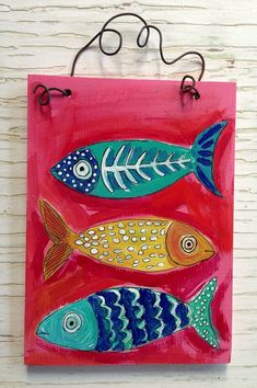 Pink Fish Original Painting Folk Art by evesjulia12 on Etsy, $48.00
