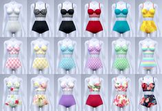 """Sania ☀ Two piece swimsuits """" Teen to elder 18 colors Include 2 files - Strapless version - Longline version """" [ Sim File Share ] [ TSR ] To be published Jun 4, 2016 About CC """"New item / Standalone / Catalog thumbnail / All lod Please delete cache..."""