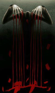 Slenderman, blood, puppet strings, people; Creepypasta