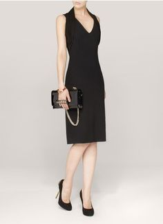 Alexander McQueen - Pleated-neckline halter-neck dress | Black Knee-length Dresses