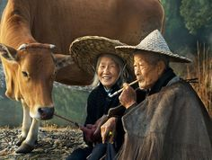 oil painting of an elderly asian couple - Google Search
